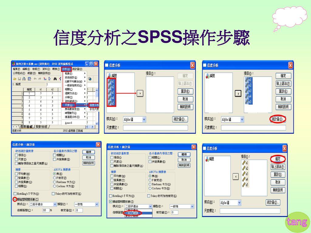 信度分析之SPSS操作步驟
