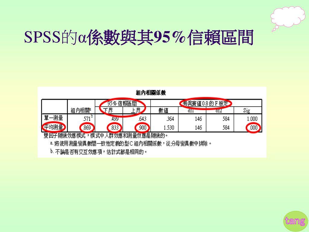 SPSS的α係數與其95%信賴區間