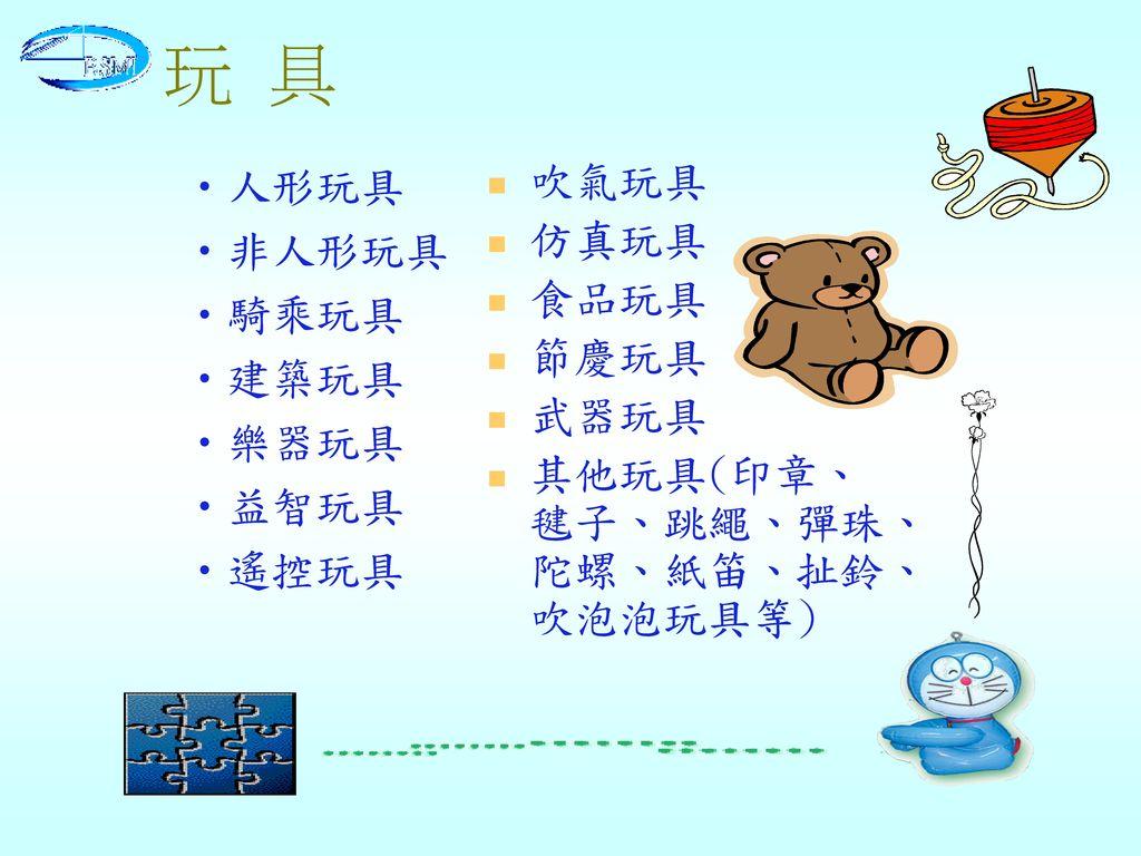 玩 具 吹氣玩具 仿真玩具 食品玩具 節慶玩具 武器玩具 其他玩具(印章、毽子、跳繩、彈珠、陀螺、紙笛、扯鈴、吹泡泡玩具等) 人形玩具