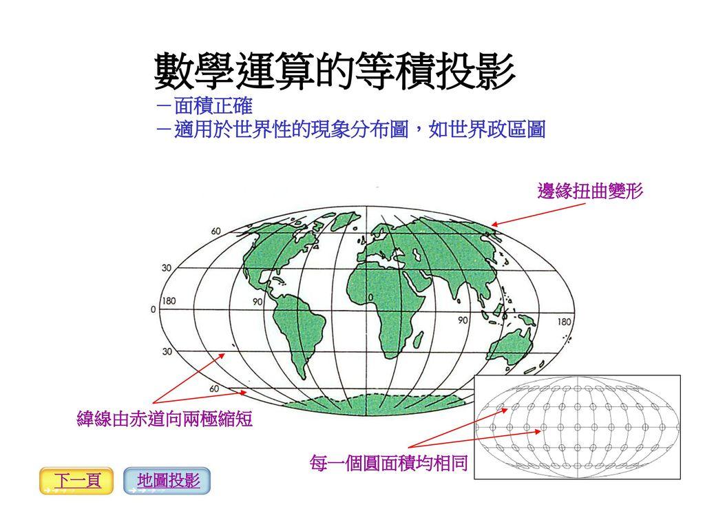 數學運算的等積投影 -面積正確 -適用於世界性的現象分布圖,如世界政區圖