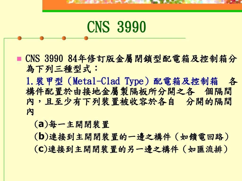 CNS 3990 CNS 3990 84年修訂版金屬閉鎖型配電箱及控制箱分為下列三種型式: