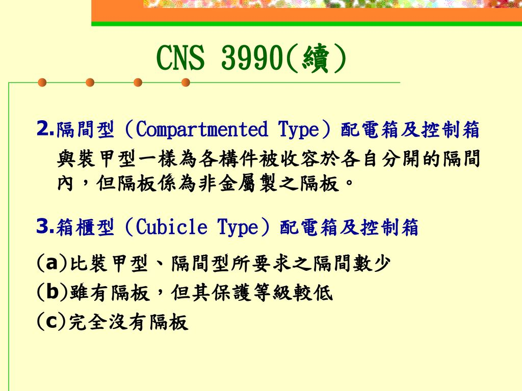 CNS 3990(續) 2.隔間型(Compartmented Type)配電箱及控制箱