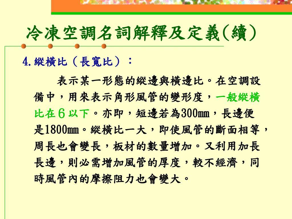 冷凍空調名詞解釋及定義(續) 4.縱橫比(長寬比):