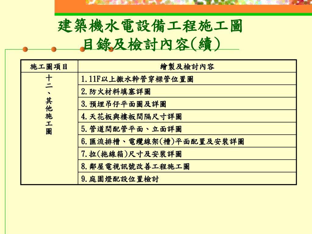 建築機水電設備工程施工圖 目錄及檢討內容(續)