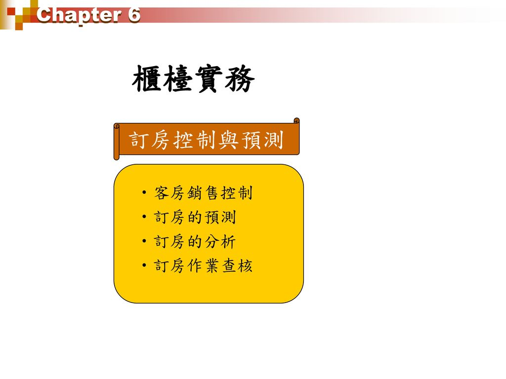 Chapter 6 櫃檯實務 訂房控制與預測 客房銷售控制 訂房的預測 訂房的分析 訂房作業查核