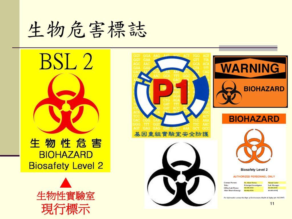 生物危害標誌 ▲ 生物性實驗室 現行標示