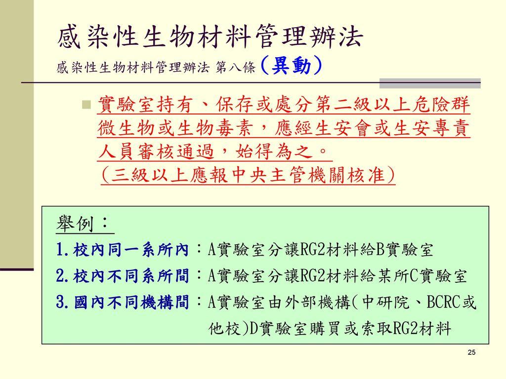 感染性生物材料管理辦法 感染性生物材料管理辦法 第八條 (異動)
