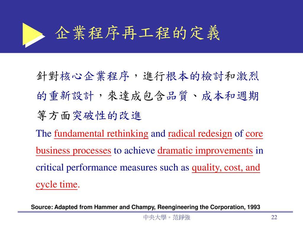 企業程序再工程的定義 針對核心企業程序,進行根本的檢討和激烈的重新設計,來達成包含品質、成本和週期等方面突破性的改進