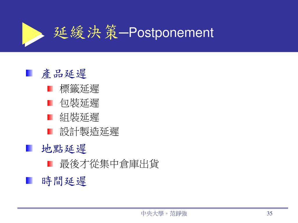 延緩決策─Postponement 產品延遲 地點延遲 時間延遲 標籤延遲 包裝延遲 組裝延遲 設計製造延遲 最後才從集中倉庫出貨