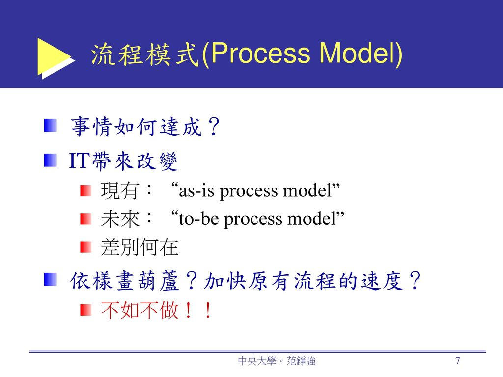 流程模式(Process Model) 事情如何達成? IT帶來改變 依樣畫葫蘆?加快原有流程的速度?