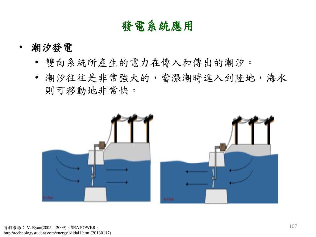 發電系統應用 潮汐發電 雙向系統所產生的電力在傳入和傳出的潮汐。 潮汐往往是非常強大的,當漲潮時進入到陸地,海水則可移動地非常快。