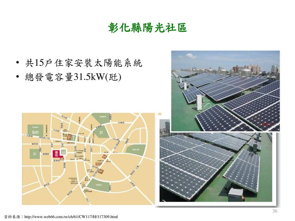 彰化縣陽光社區 共15戶住家安裝太陽能系統 總發電容量31.5kW(瓩)