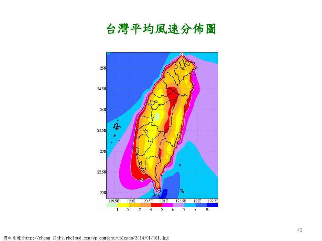 台灣平均風速分佈圖 資料來源:http://cheng-21thv.rhcloud.com/wp-content/uploads/2014/01/161.jpg