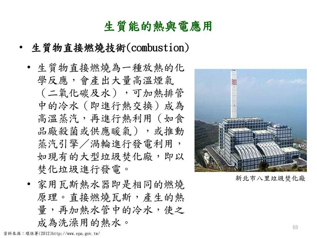 生質能的熱與電應用 生質物直接燃燒技術(combustion)