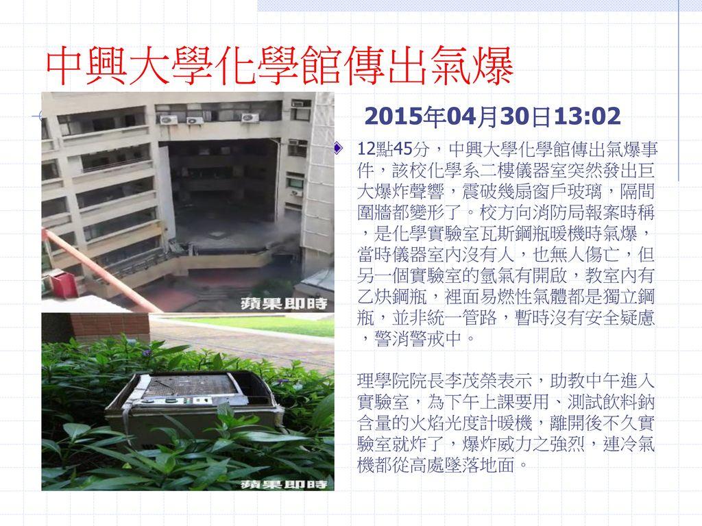 中興大學化學館傳出氣爆 2015年04月30日13:02.