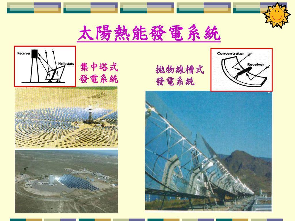 太陽熱能發電系統 集中塔式 發電系統 拋物線槽式 發電系統