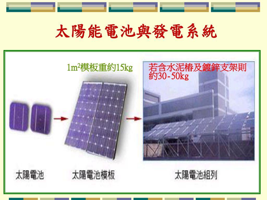 太陽能電池與發電系統 1m2模板重約15kg 若含水泥樁及鍍鋅支架則 約30-50kg