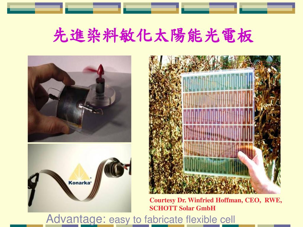 先進染料敏化太陽能光電板 Advantage: easy to fabricate flexible cell