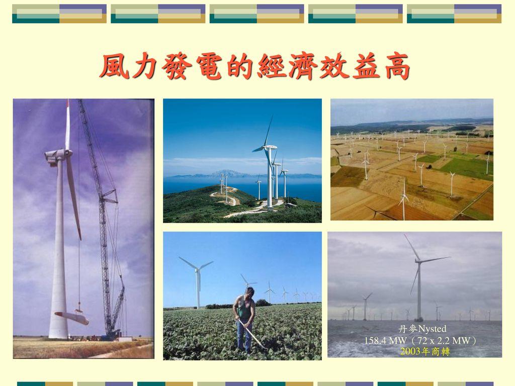 風力發電的經濟效益高 丹麥Nysted 158.4 MW(72 x 2.2 MW)