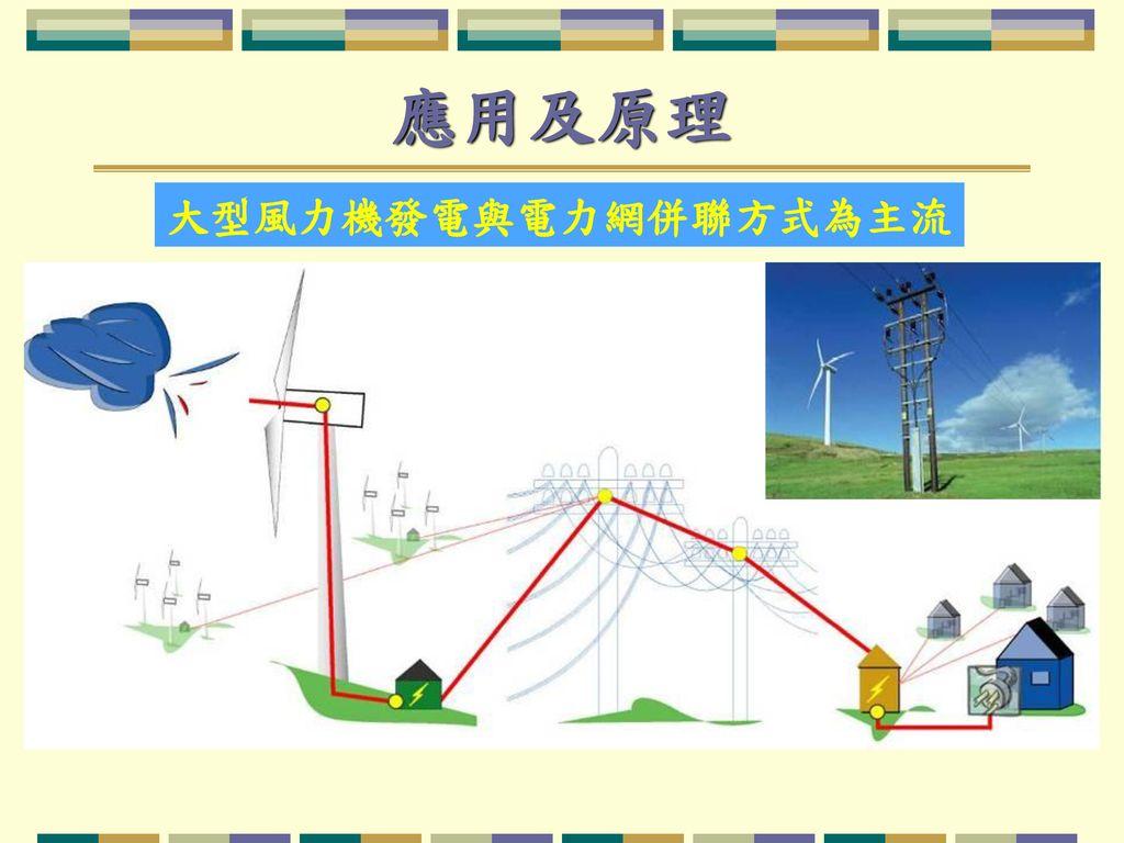 應用及原理 大型風力機發電與電力網併聯方式為主流