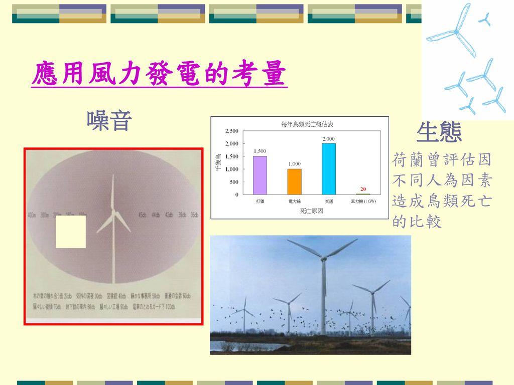應用風力發電的考量 噪音 生態 荷蘭曾評估因不同人為因素造成鳥類死亡的比較