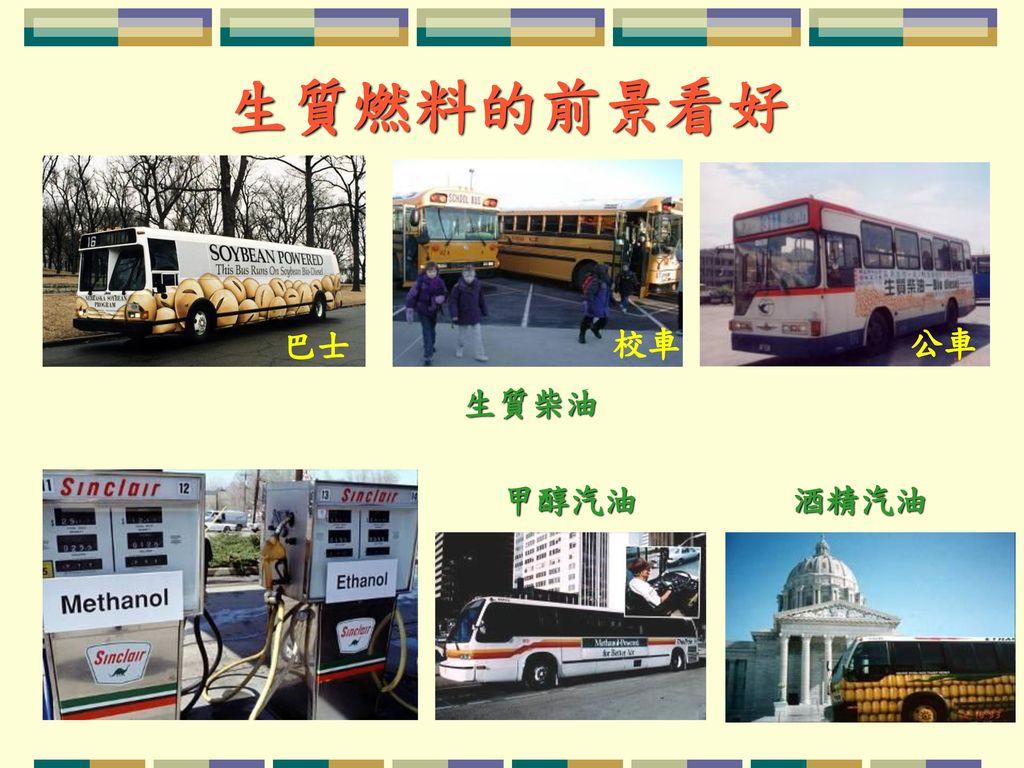 生質燃料的前景看好 巴士 校車 公車 生質柴油 甲醇汽油 酒精汽油