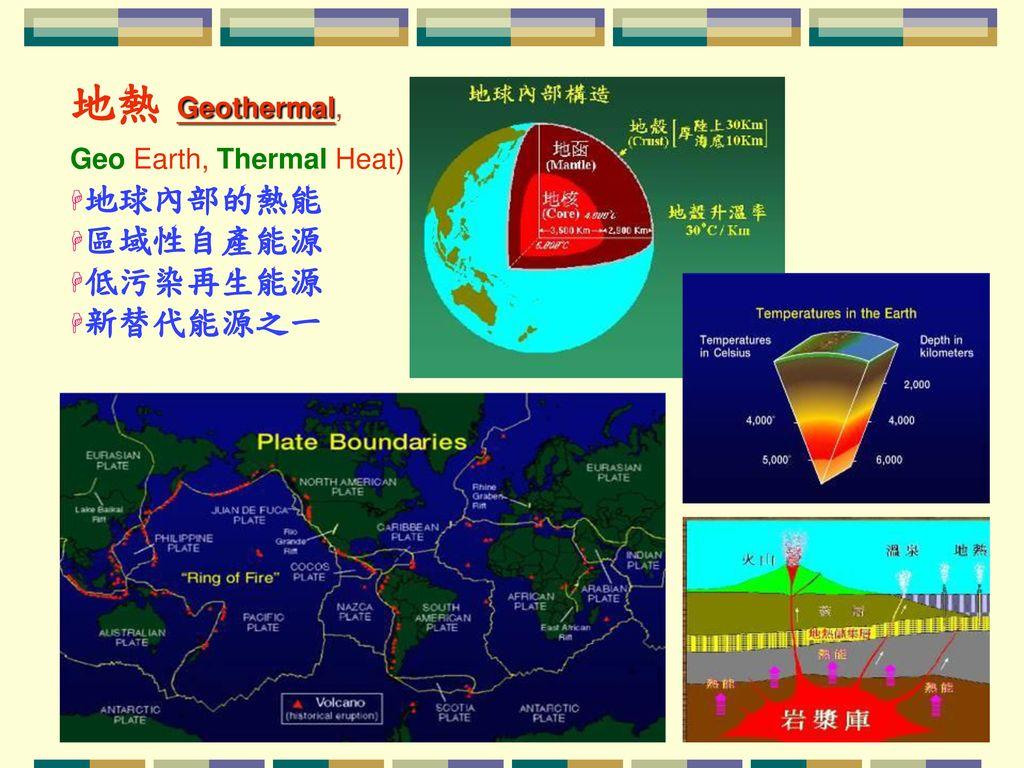 地熱 Geothermal, 地球內部的熱能 區域性自產能源 低污染再生能源 新替代能源之一