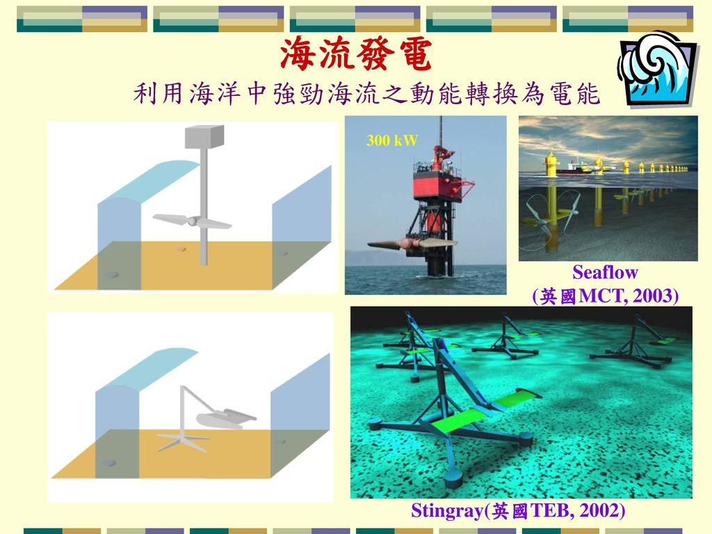 海流發電 利用海洋中強勁海流之動能轉換為電能 Seaflow (英國MCT, 2003) Stingray(英國TEB, 2002)