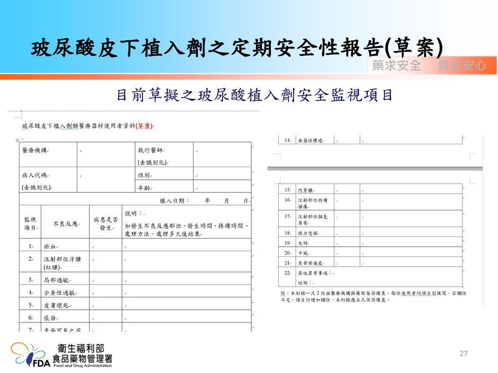 玻尿酸皮下植入劑之定期安全性報告(草案)