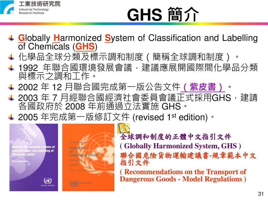 GHS 簡介 Globally Harmonized System of Classification and Labelling of Chemicals (GHS) 化學品全球分類及標示調和制度(簡稱全球調和制度)。