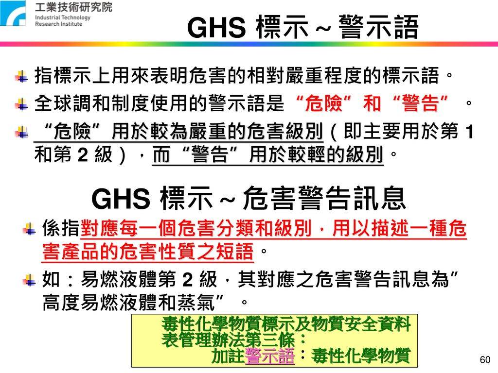 GHS 標示~警示語 GHS 標示~危害警告訊息