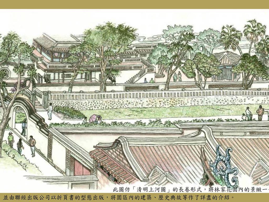 此圖仿「清明上河圖」的長卷形式,將林家花園內的景緻一一開展,