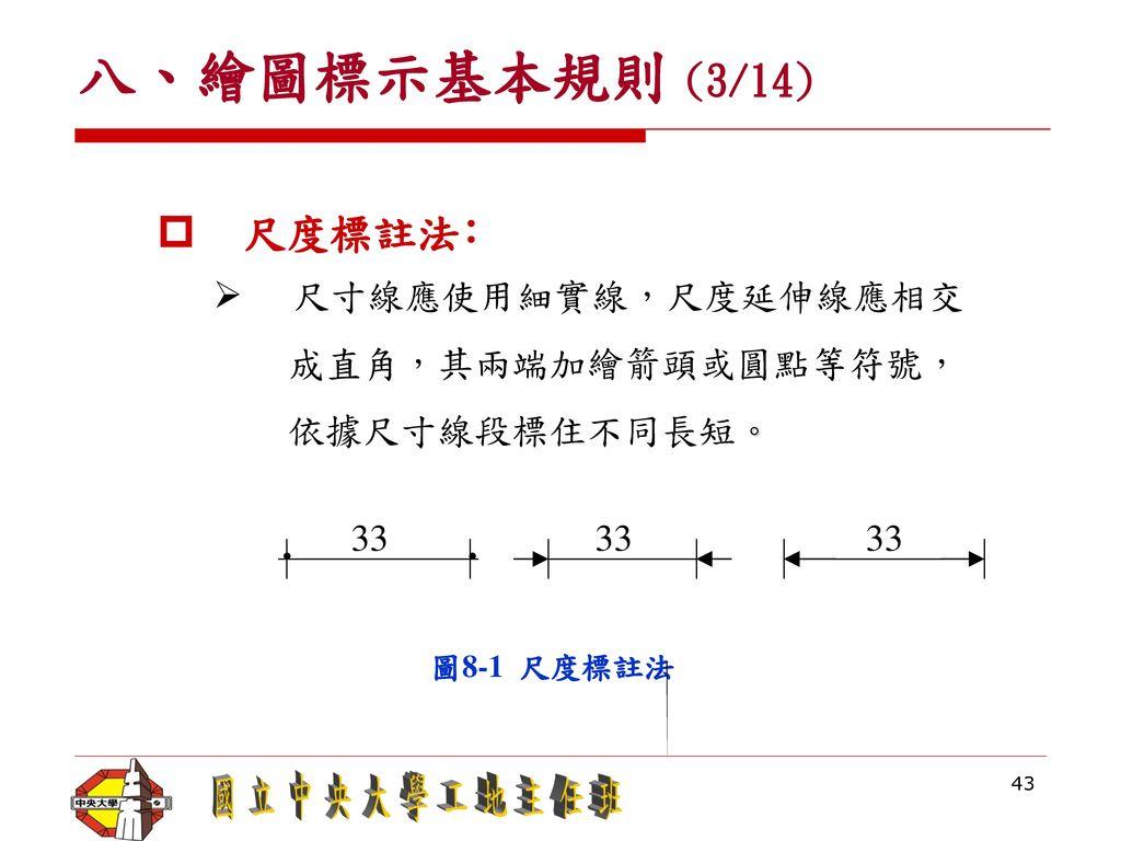 ∙ 八、繪圖標示基本規則 (3/14) 尺度標註法﹕ 尺寸線應使用細實線,尺度延伸線應相交 成直角,其兩端加繪箭頭或圓點等符號,