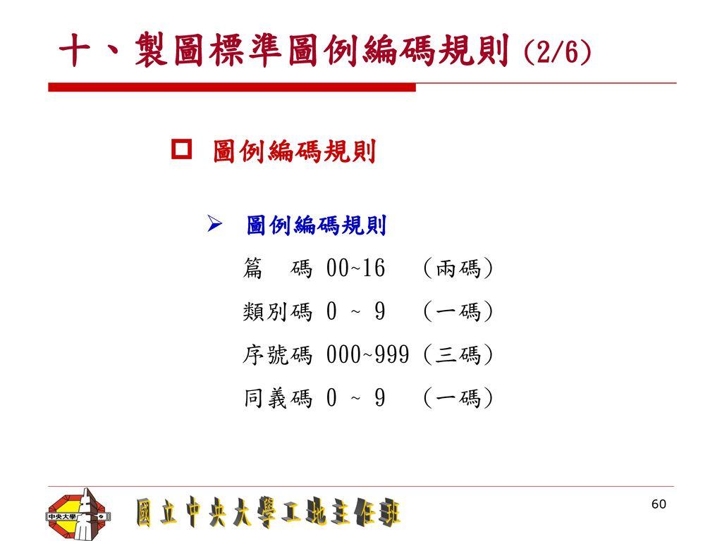 十、製圖標準圖例編碼規則 (2/6) 圖例編碼規則 篇 碼 00~16 (兩碼) 類別碼 0 ~ 9 (一碼)