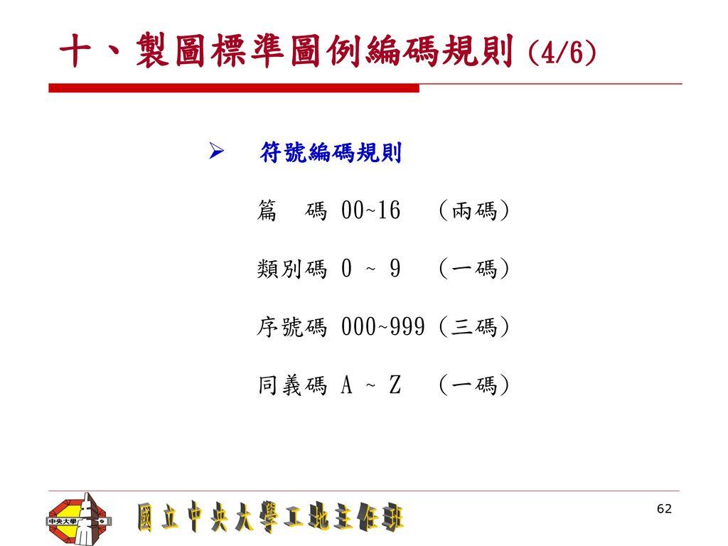 十、製圖標準圖例編碼規則 (4/6) 符號編碼規則 篇 碼 00~16 (兩碼) 類別碼 0 ~ 9 (一碼)
