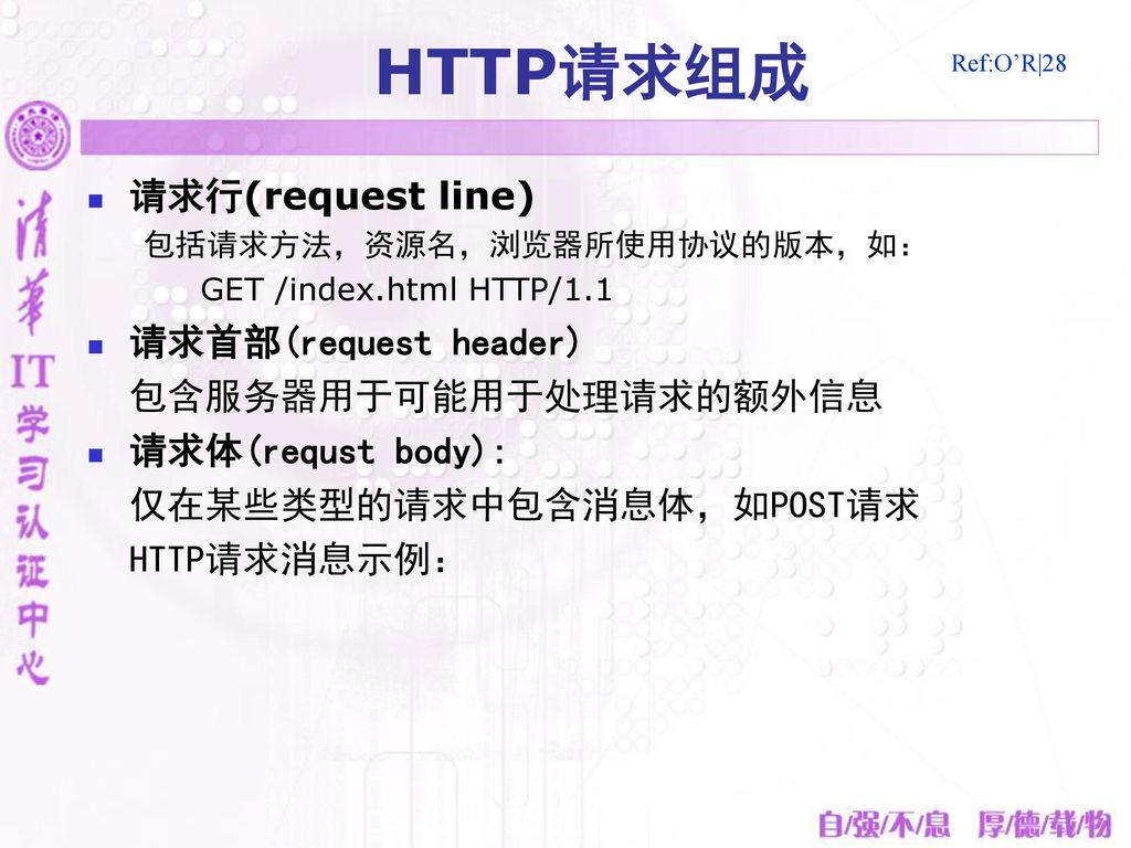 HTTP请求组成 请求行(request line) 请求首部(request header) 包含服务器用于可能用于处理请求的额外信息