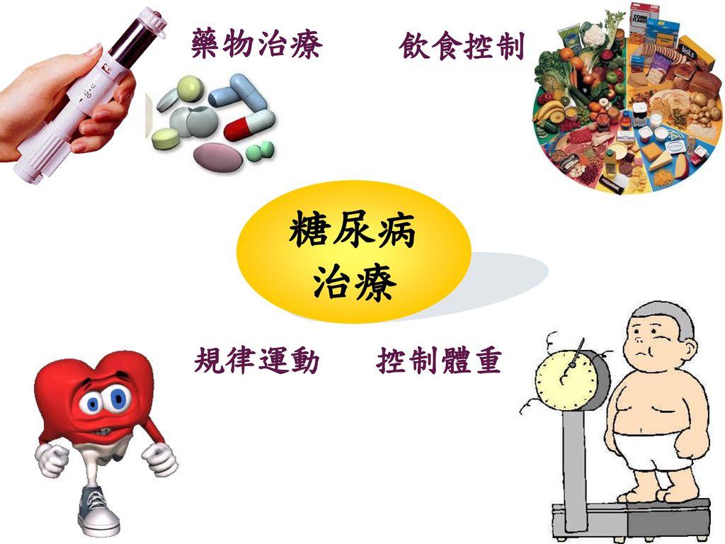 藥物治療 飲食控制 糖尿病 治療 控制體重 規律運動