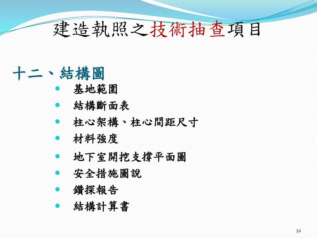 建造執照之技術抽查項目 十二、結構圖 基地範圍 結構斷面表 柱心架構、柱心間距尺寸 材料強度 地下室開挖支撐平面圖 安全措施圖說 鑽探報告