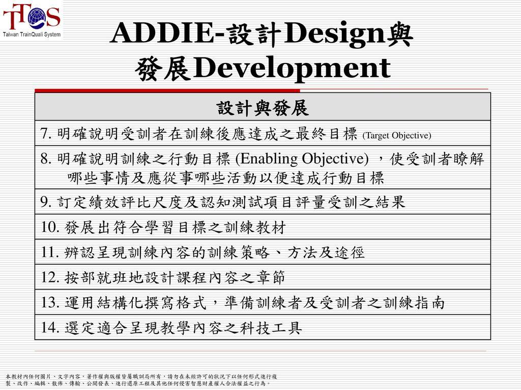ADDIE-設計Design與 發展Development