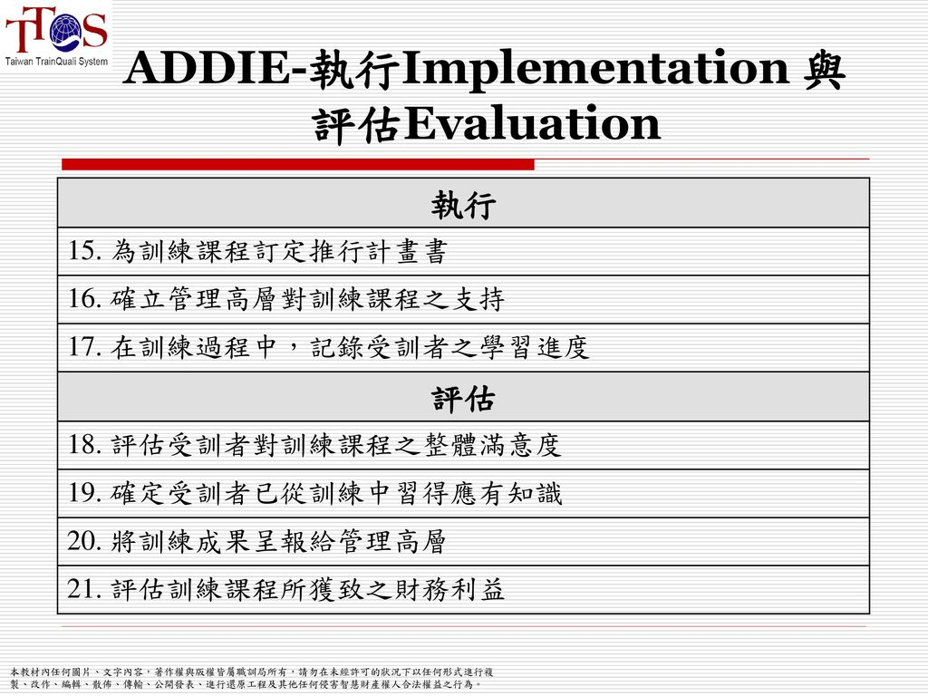 ADDIE-執行Implementation 與 評估Evaluation
