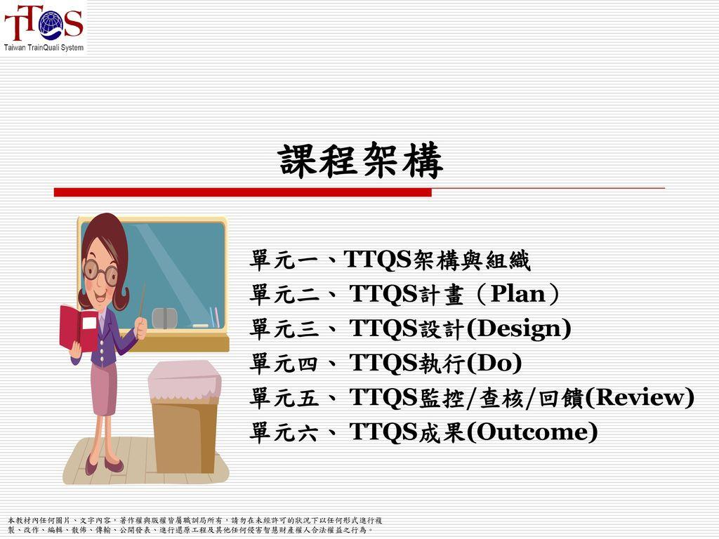 課程架構 單元一、TTQS架構與組織 單元二、 TTQS計畫(Plan) 單元三、 TTQS設計(Design)
