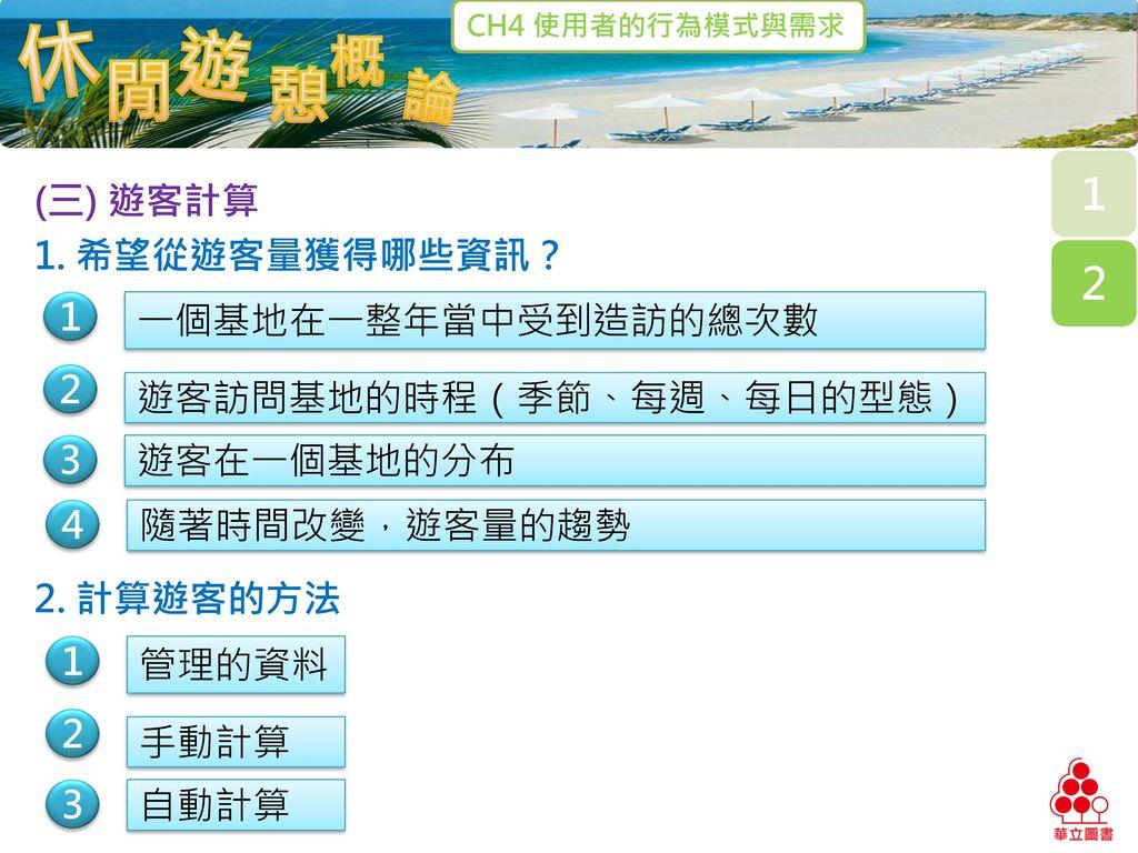 (三) 遊客計算 1. 希望從遊客量獲得哪些資訊? 1. 一個基地在一整年當中受到造訪的總次數. 2. 遊客訪問基地的時程(季節、每週、每日的型態) 3. 遊客在一個基地的分布. 4.