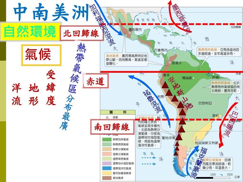 中南美洲 自然環境 氣候 熱帶氣候區分布最廣 受緯度 洋流 地形 赤道 北回歸線 南回歸線 加利福尼亞涼流 墨西哥灣流 安地斯山地 祕魯涼流