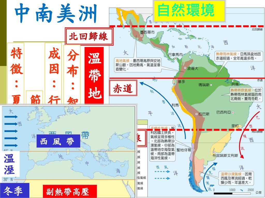 中南美洲 自然環境 溫帶地中海型氣候 特徵:夏乾冬雨 成因:行星風系隨季 分布:智利中部 節移動 溫溼 赤道 冬季 北回歸線 南回歸線