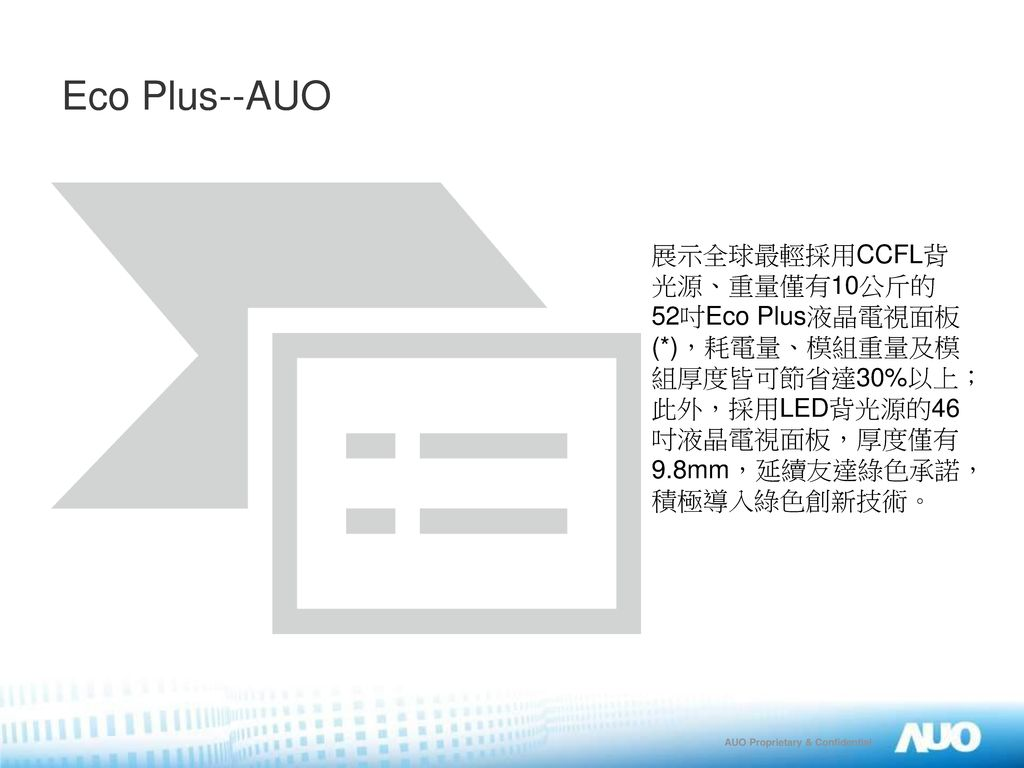 Eco Plus--AUO 展示全球最輕採用CCFL背光源、重量僅有10公斤的52吋Eco Plus液晶電視面板(*),耗電量、模組重量及模組厚度皆可節省達30%以上;此外,採用LED背光源的46吋液晶電視面板,厚度僅有9.8mm,延續友達綠色承諾,積極導入綠色創新技術。