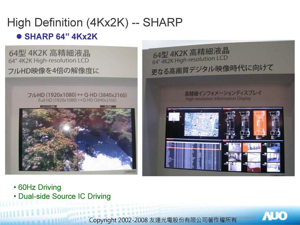 High Definition (4Kx2K) -- SHARP