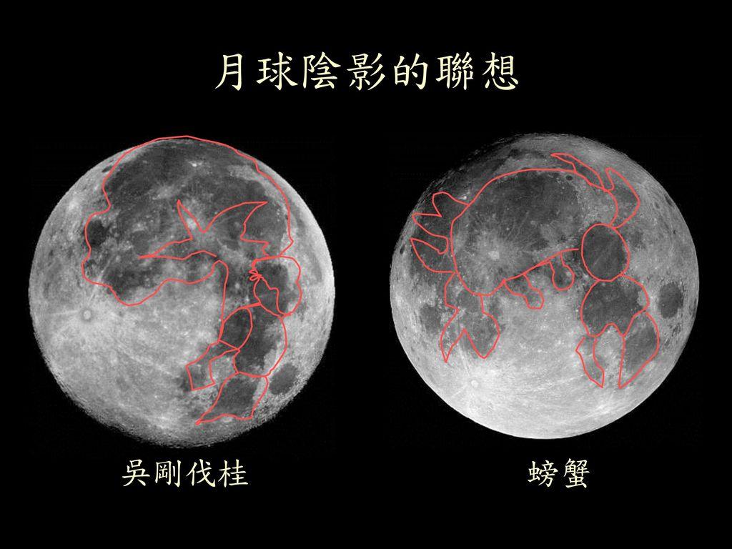 月球陰影的聯想 月亮的表面有的較灰暗,有的較明亮,以前的人很 會想像,有人認為它像嫦娥,有人認為它像螃蟹,
