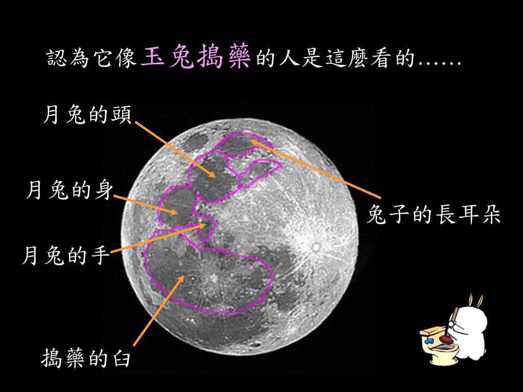 月球陰影的聯想 玉兔搗藥 嫦娥