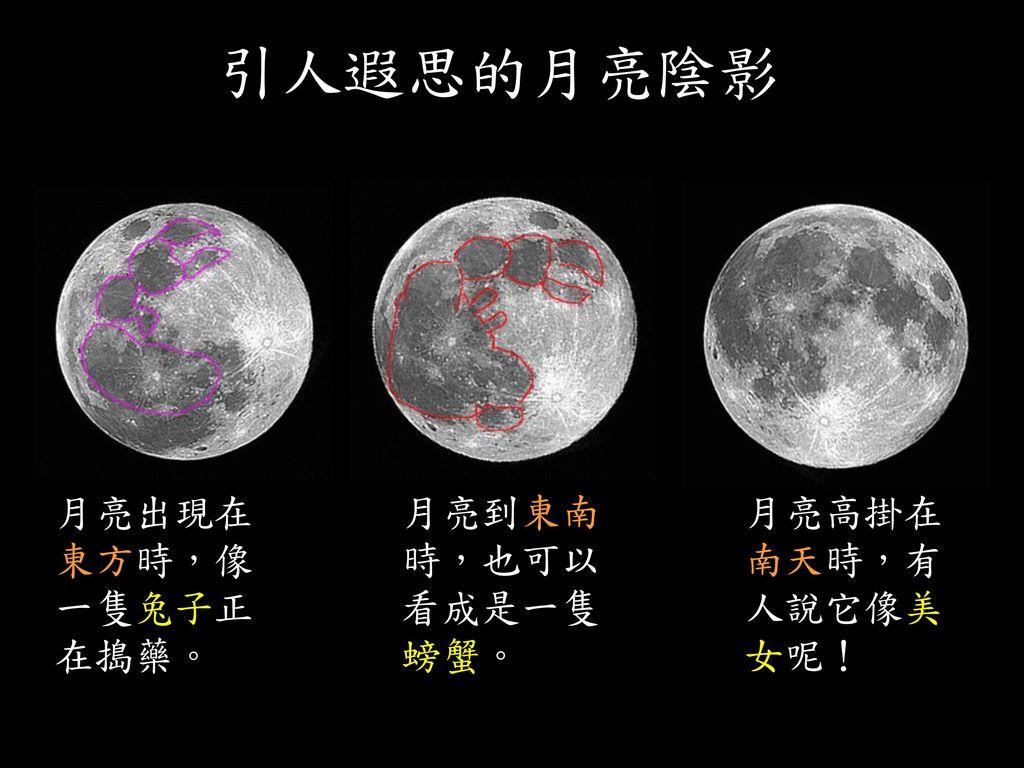 當月亮在東南方時,危難海在月面的右上方 陰暗部分像一隻公的招潮蟹