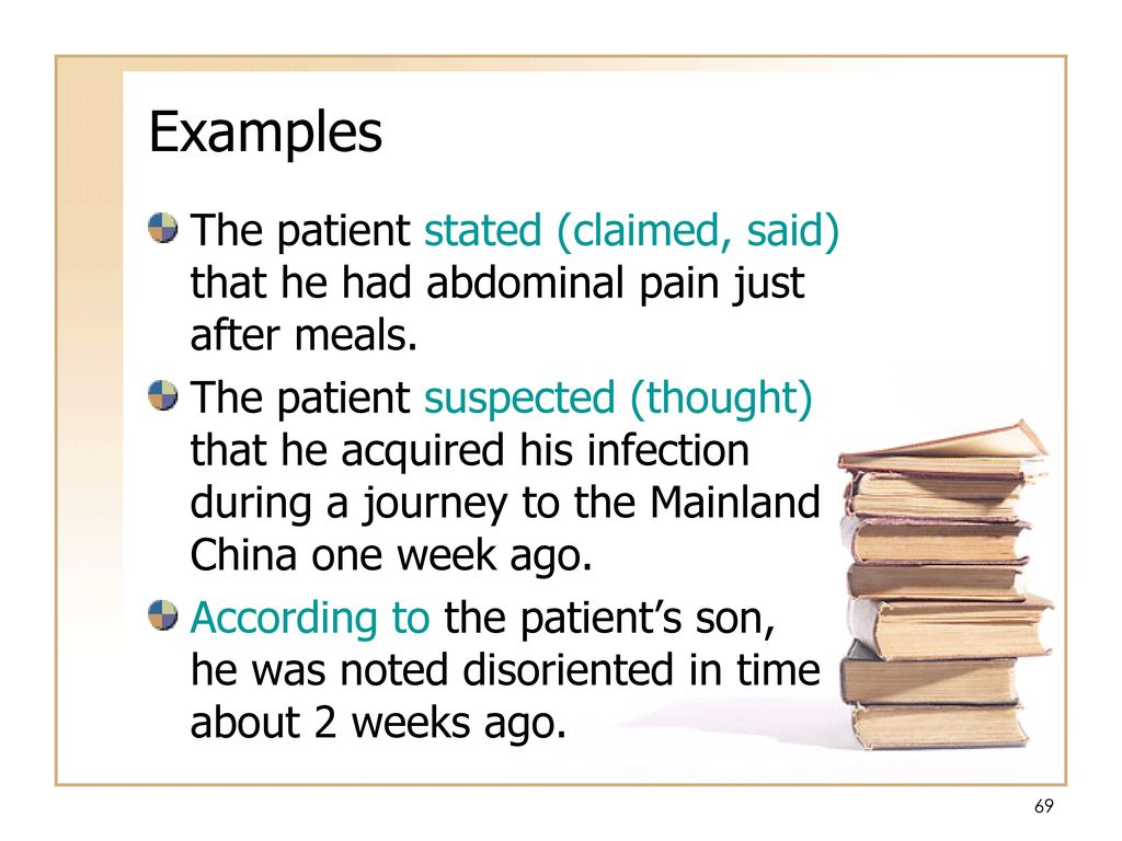Examples The patient stated (claimed, said) that he had abdominal pain just after meals.
